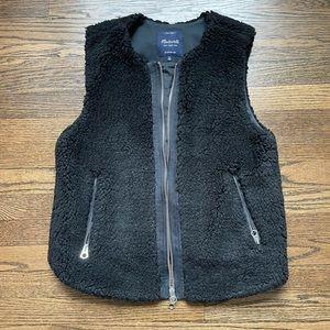 Medium Madewell Black Shearling Sherpa Vest